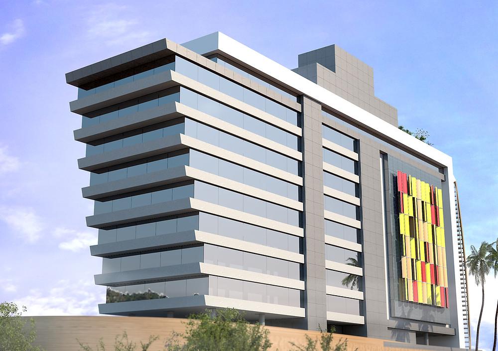 Edifício Tractebel fachada brises coloridos