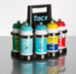 Porta bidones de plástico Tacx para 8 bidones personalizadode 500 ó 750 cc para deporte y ciclismo