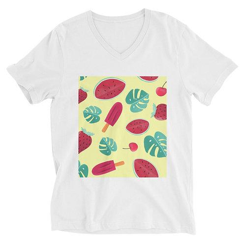 Unisex Short Sleeve V-Neck T-Shirt - Summer