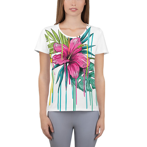 All-Over Print Women's Athletic T-shirt - flowers
