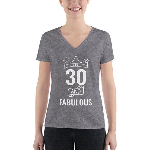 Women's Fashion Deep V-neck Tee - 30 Fabulous