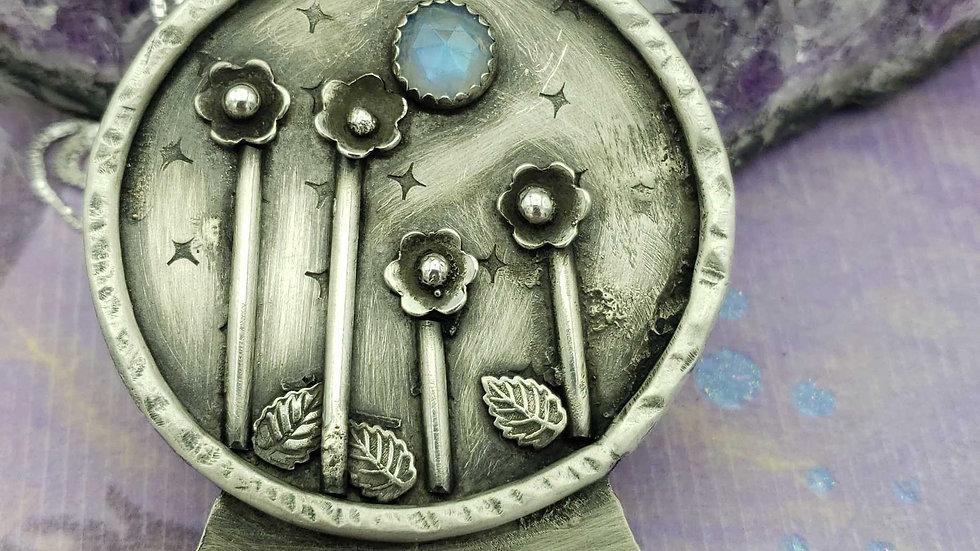 Rainbow moonstone crystal ball pendant