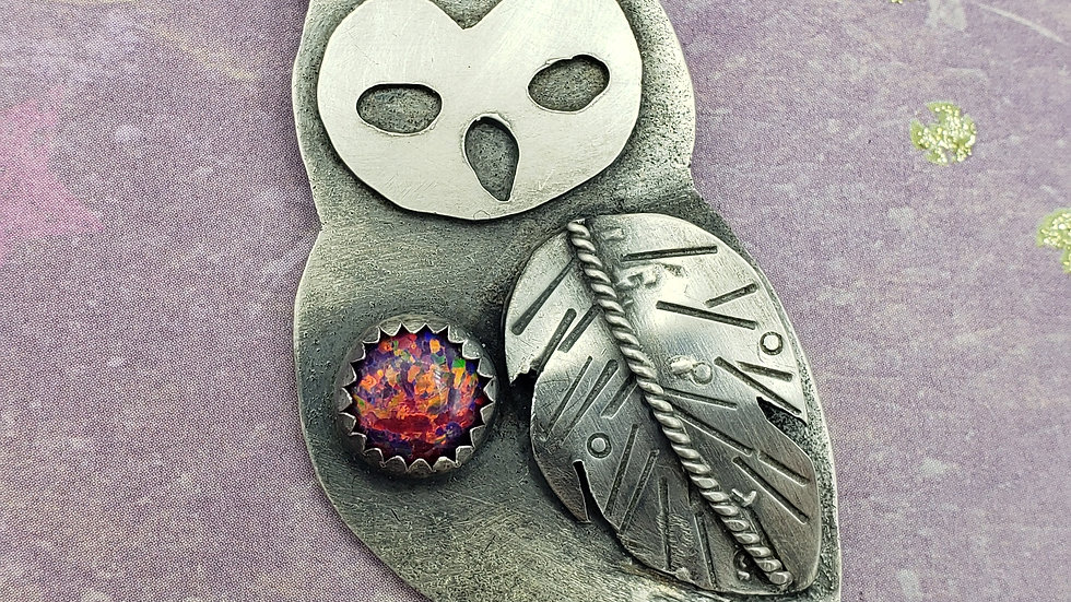 Magenta aura opal owl pendant