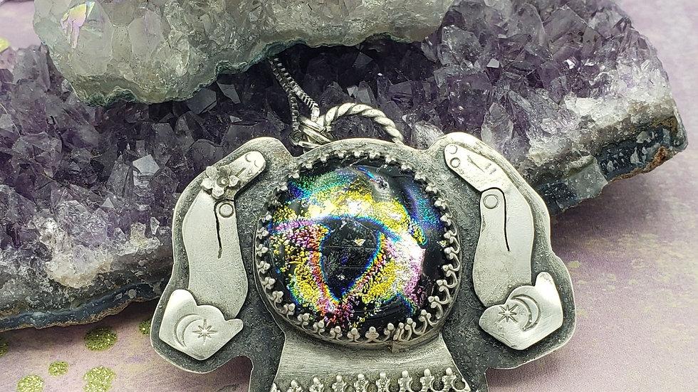 Dichroic glass fortune teller pendant