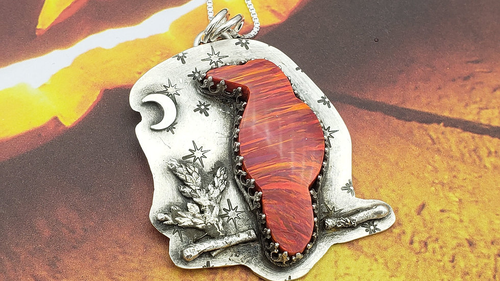 Aura opal raven pendant