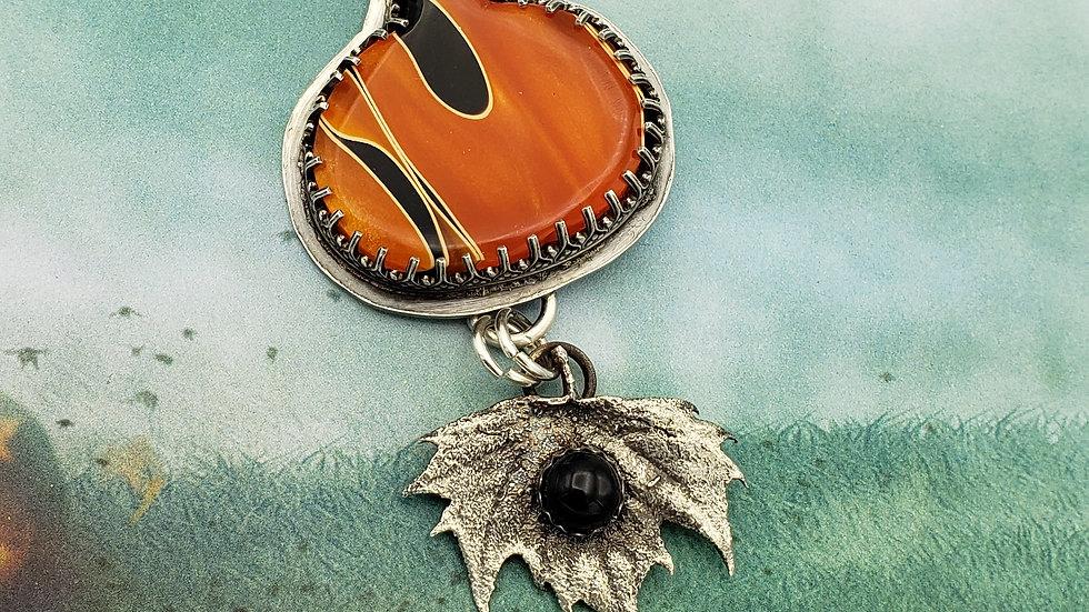 Alumilite resin pumpkin, maple leaf pendant