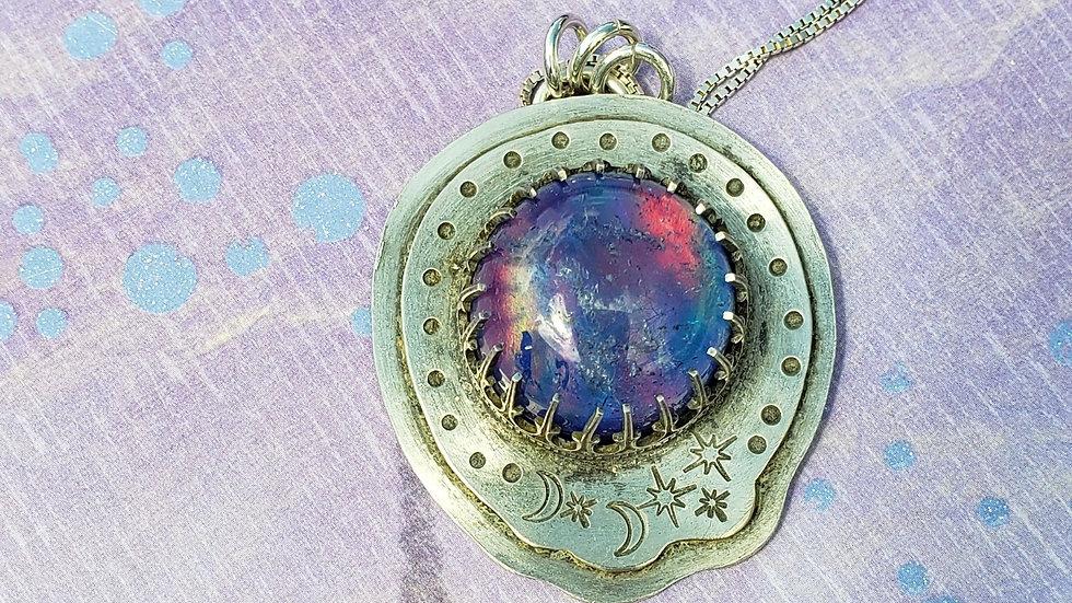 Aura opal quartz doublet pendant