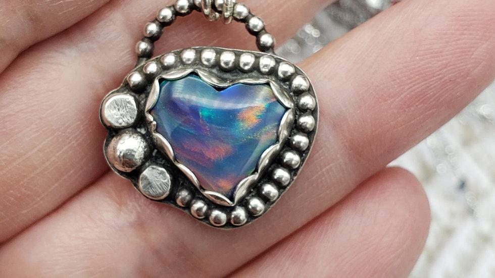Nova opal (manmade) heart pendant
