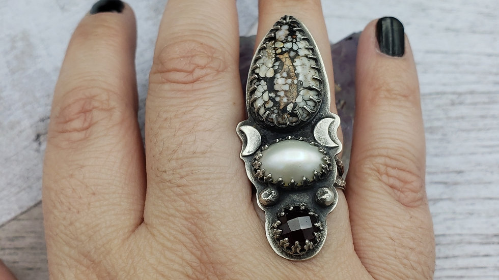 Snakeskin agate statement ring,  size 8-8.25