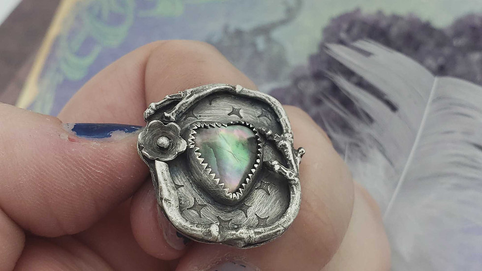 Blooming black heart ring, size 9