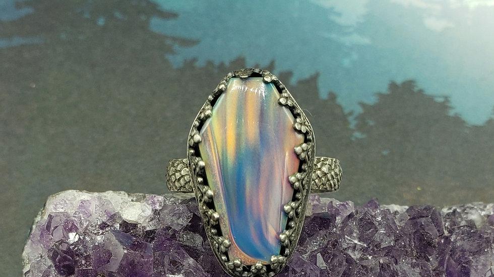 Nova opal coffin ring,  size 9