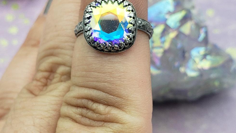 Swarovski crystal ring, size 5 1/2
