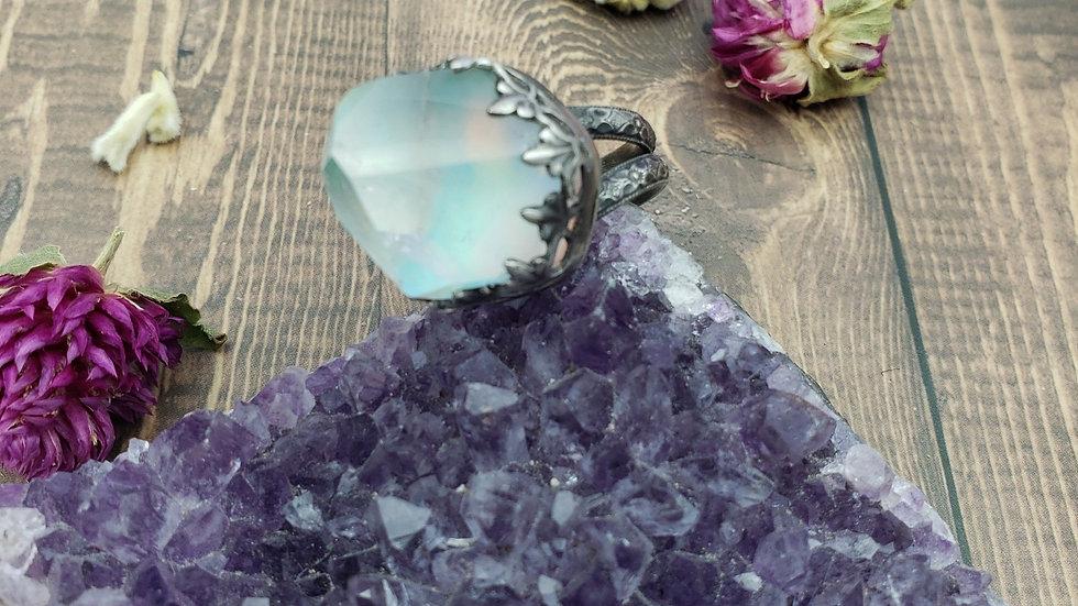 Aura opal quartz doublet ring, size 8