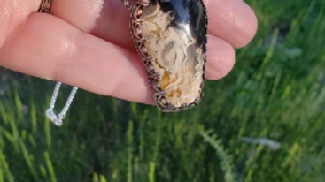 Fossilized Palm Root Coffin Pendant