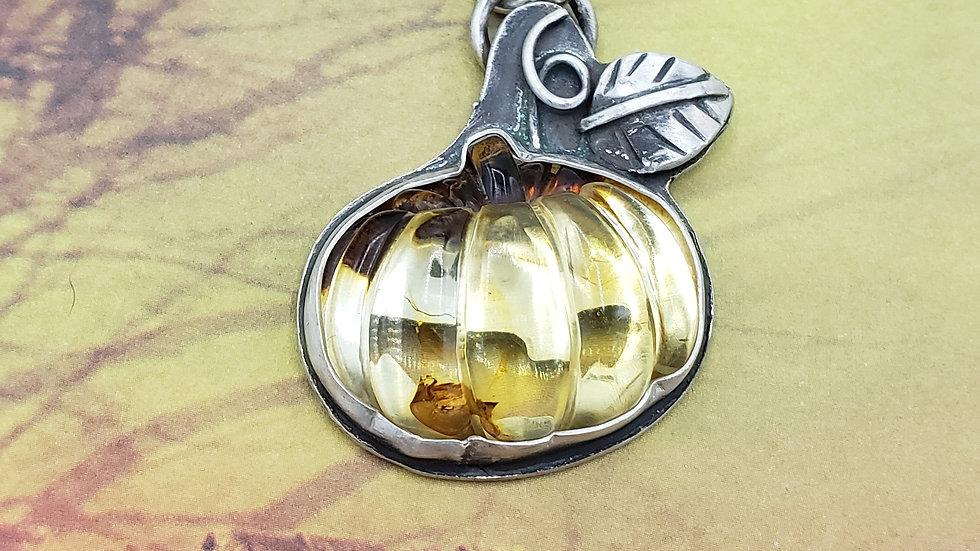 Baltic Amber Jack-o-lantern pendant