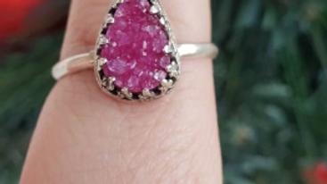 Pink druzy ring, size 10
