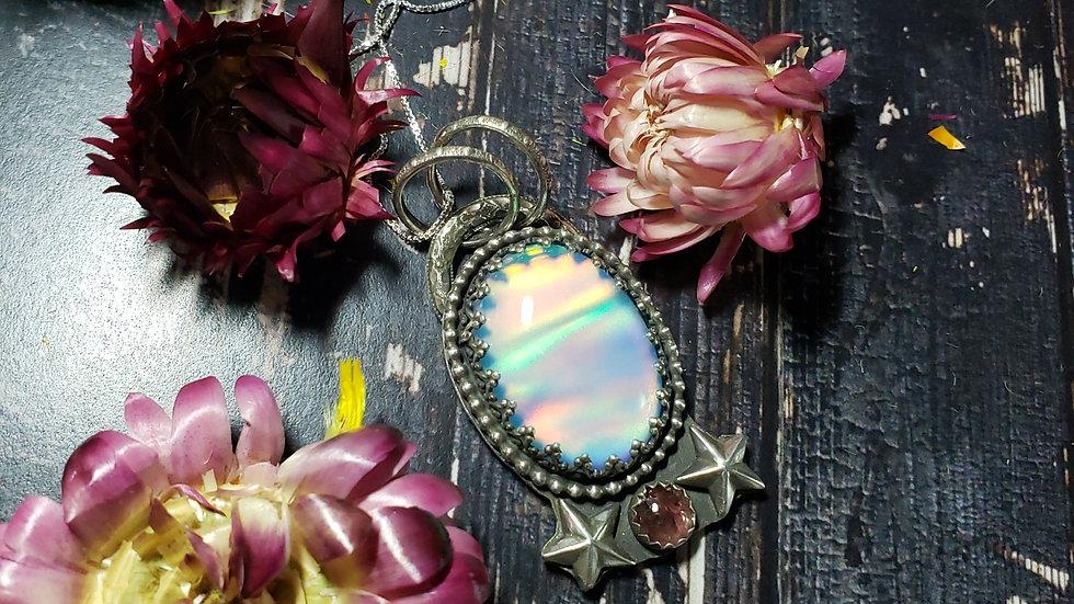 Aurora opal doublet and pink tourmaline pendant