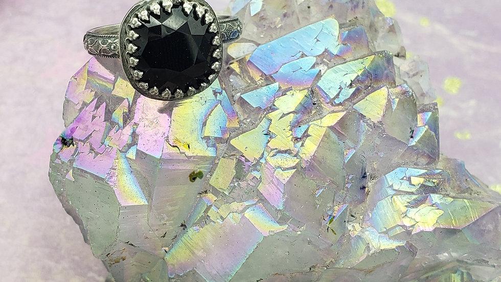 Black Swarovski crystal ring, size 7
