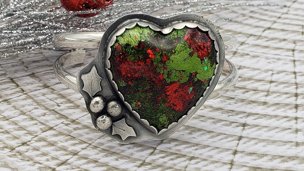 Heart sterling silver and red and green resin cuff