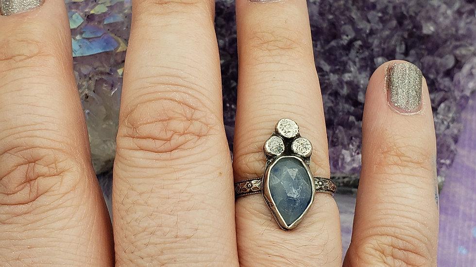 Light blue sapphire ring, size 8