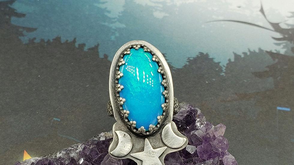 Turquoise/green nova opal ring, size 6.5