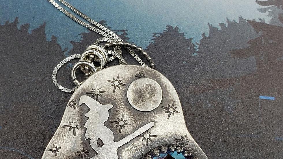 Tonight we fly! Swarovski witch pendant