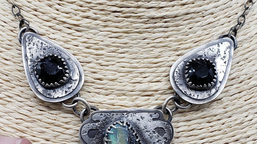 Australian opal and Swarovski cauldron necklace
