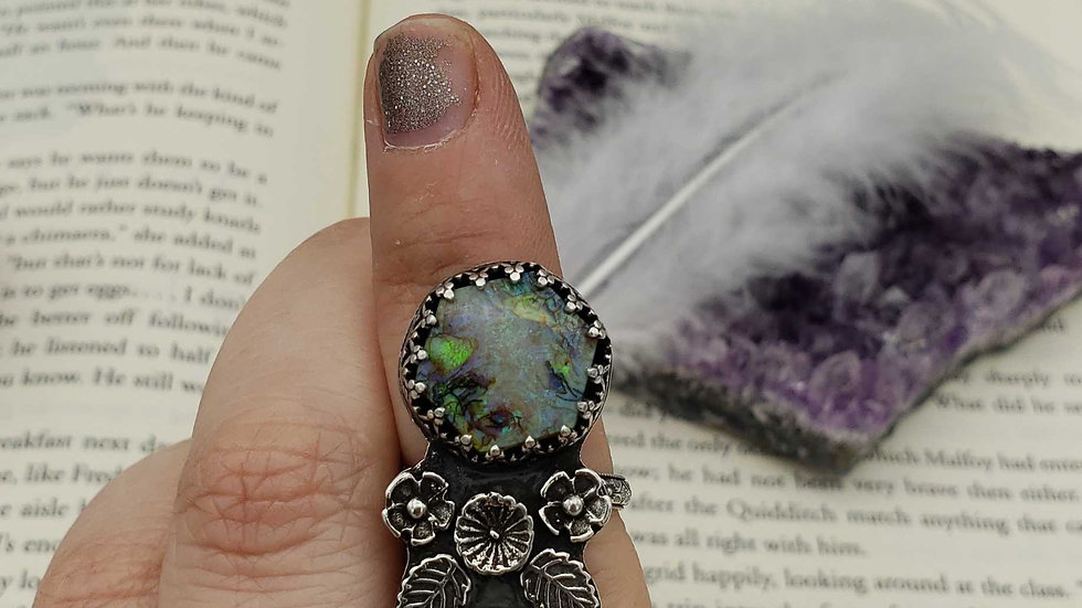 Monarch opal and opal statement ring,  size 7
