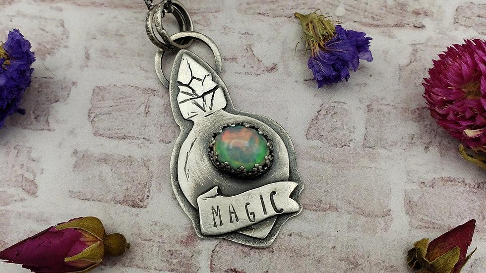 Opal potion bottle pendant