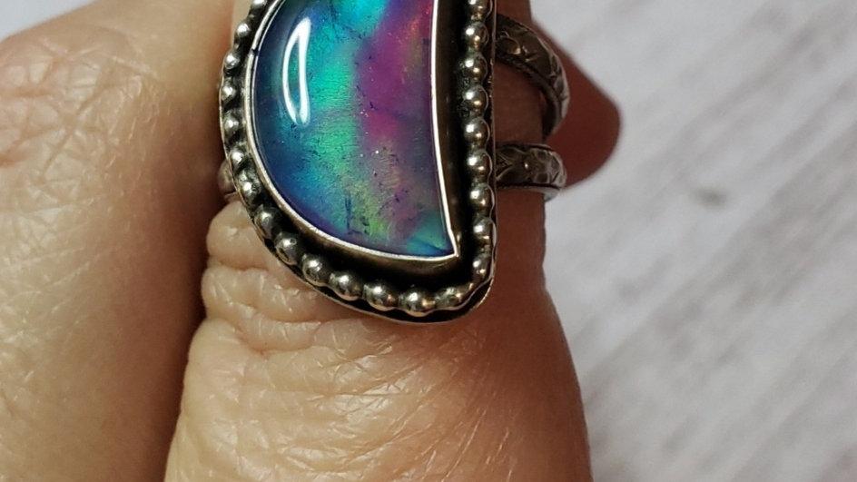 Aura opal quartz doublet ring, size 7.5