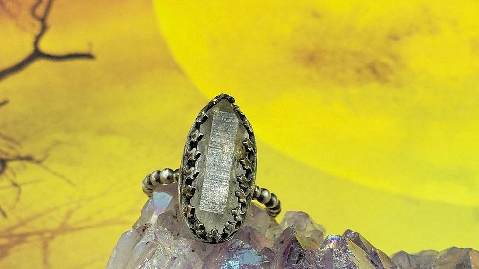 Herkimer diamond quartz ring, size 5