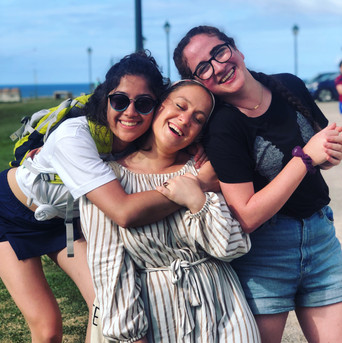 Students and staff bond while working to rebuild community centers in Puerto Rico.