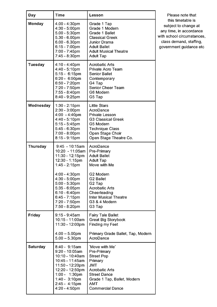 Current Open Stage timetable
