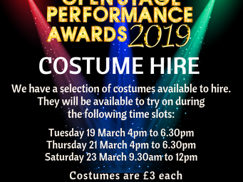 Performance award costumes available to hire