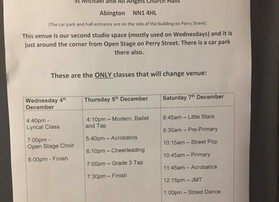 Important notice re class changes 4/5/7 December