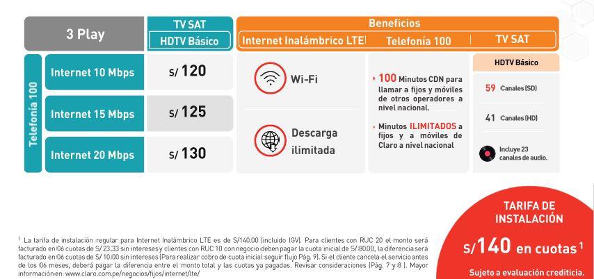 Servicios Fijos Inalambricos LTE Negocios - 3 Play