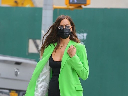 Irina Shayk Masters Spring's Boldest Color in a Neon-Green Blazer