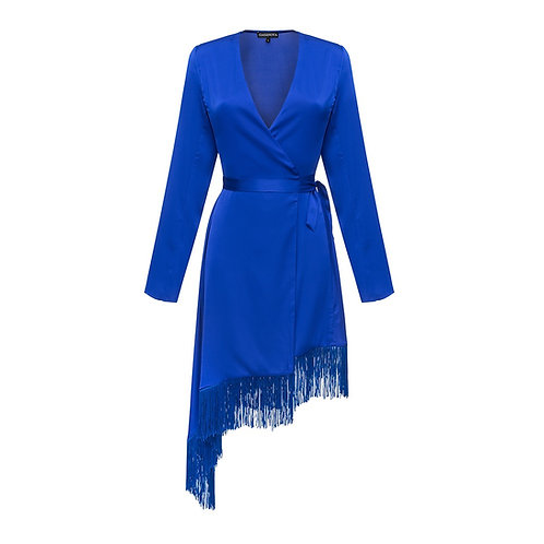 Silk Wrap Around Dress with Fringe NEW 2021