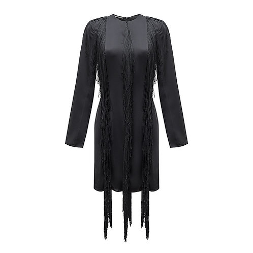 Mini Silk Dress with Fringe