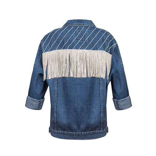 Crystal denim with fringed back