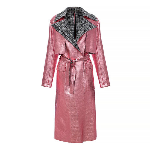 Belted oversize trench in pink metallic color