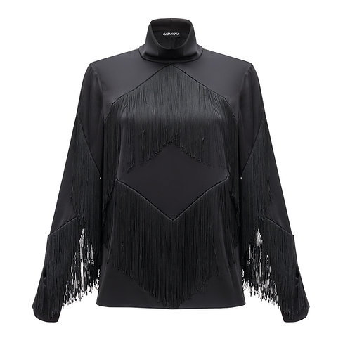 Silk Blouse with Fringe