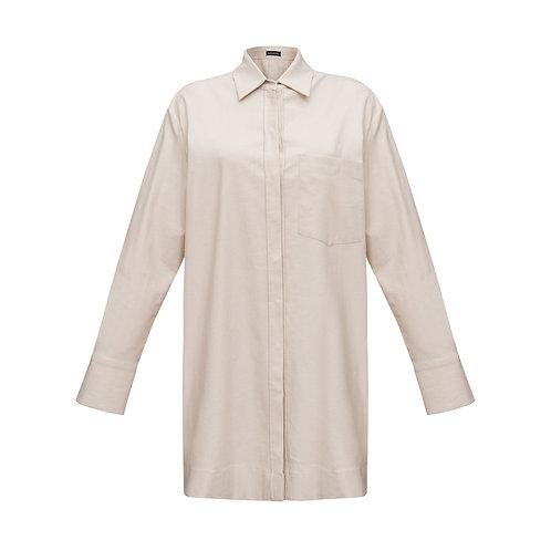Платье-рубашка льняная