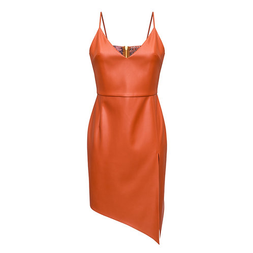 Eco Leather Dress with side cut