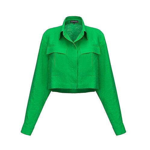 Льняная укороченная рубашка с карманами