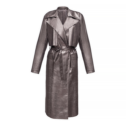 Belted oversize trench coat in metallic color