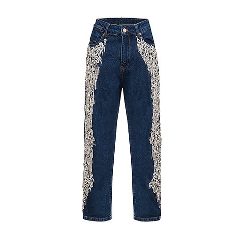 High-waisted MOM jeans with crystals