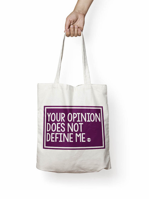 2fde4fa2c4fe YOUR OPINION DOES NOT DEFINE ME natural canvas tote bag