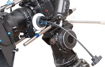 Redrock Focus Puller with Whip as attached to the RED One camera closeup.