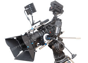 Redrock Focus Puller with Whip as attached to the RED One camera.